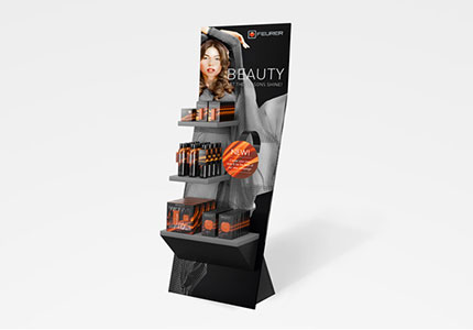 Verpackung CoPacking Kosmetik Displays Bodendisplay